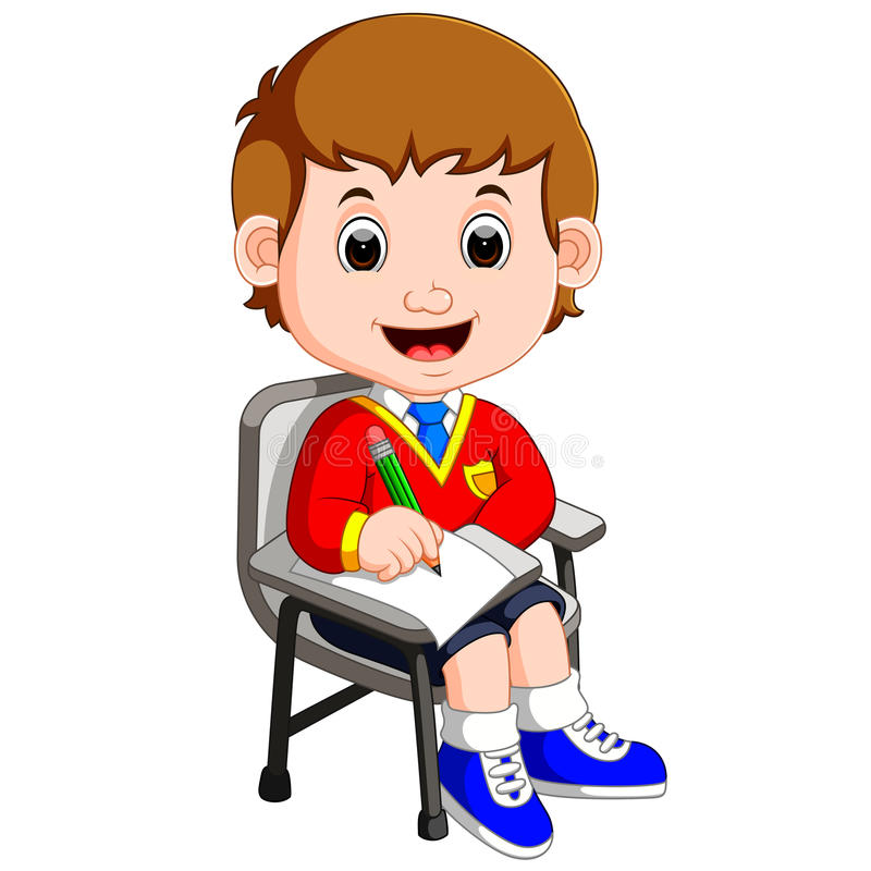 Boy student studying and writing vector illustration