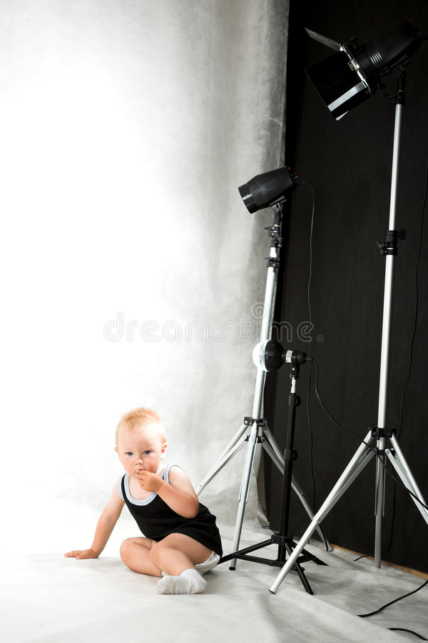 Boy in the studio royalty free stock image