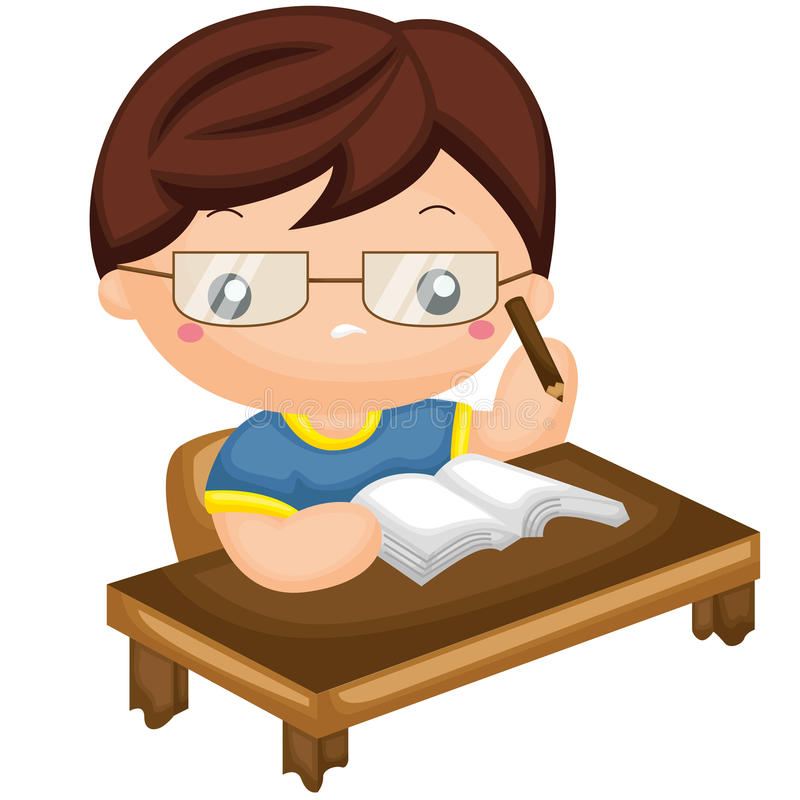Boy study hard stock illustration
