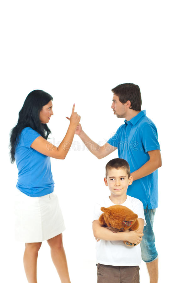 Boy suffering about parents conflict stock photo