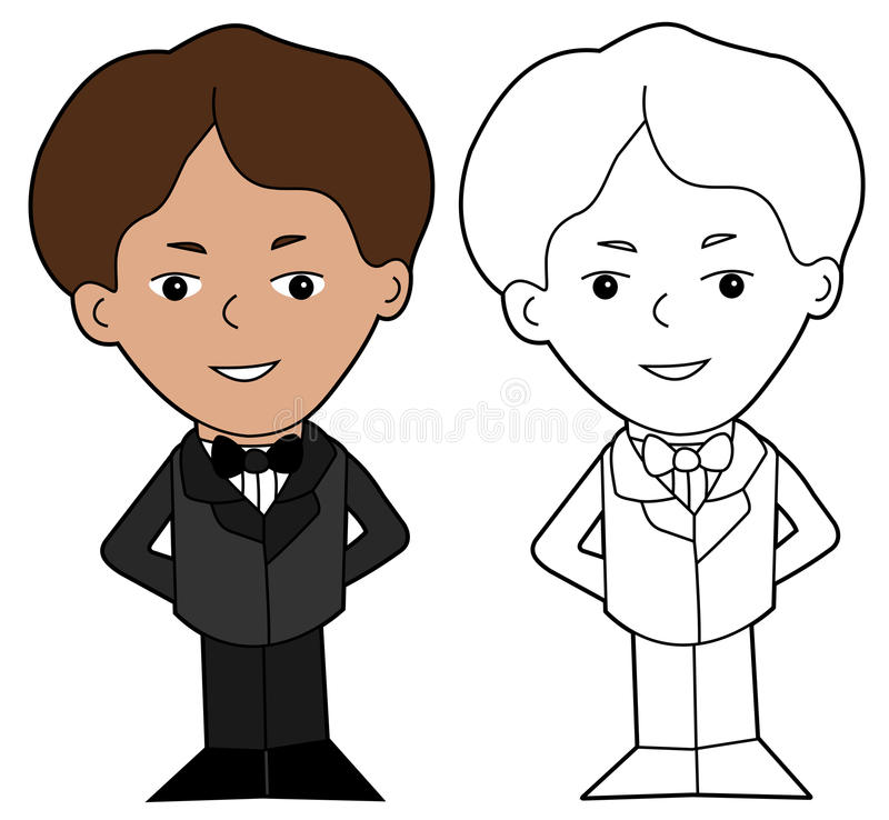 Boy in a suit cartoon stock image