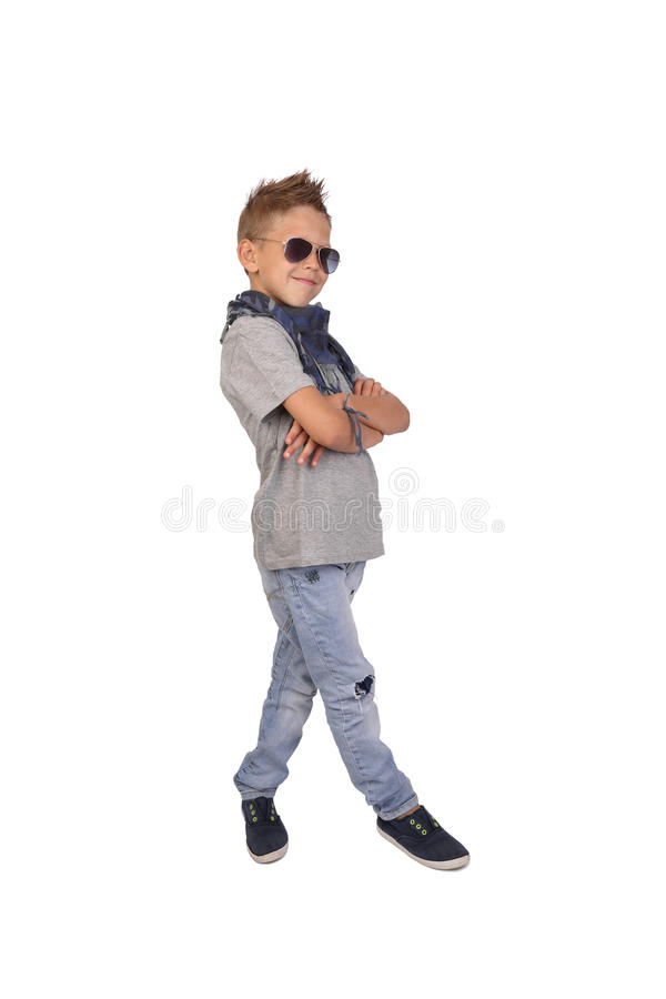 Boy in sunglass posing royalty free stock images