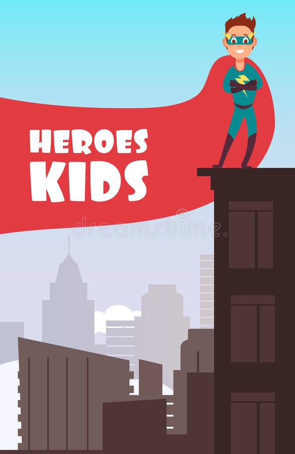 Boy superhero with red cloak over the city buildings vector super kids poster vector illustration
