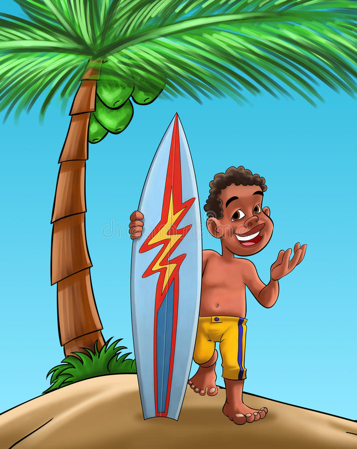 Boy With Surf Board Royalty Free Stock Image