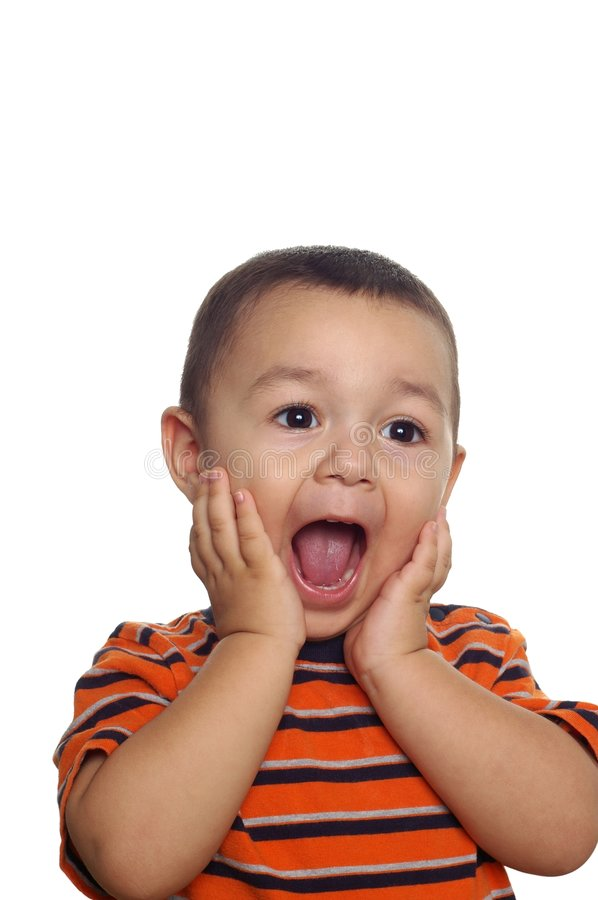 Boy with surprised or shocked expression stock images