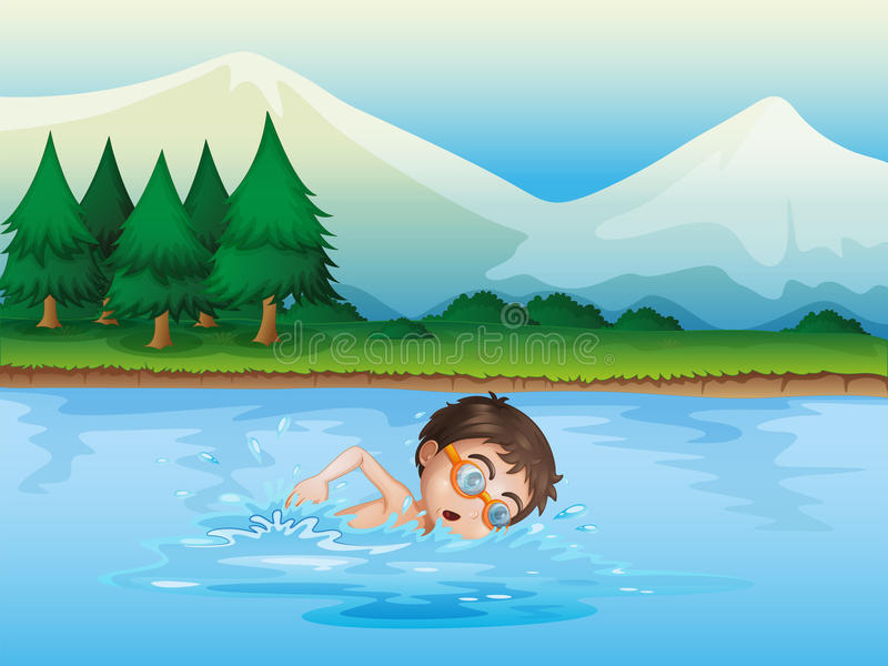 A Boy Swimming At The River Royalty Free Stock Photo
