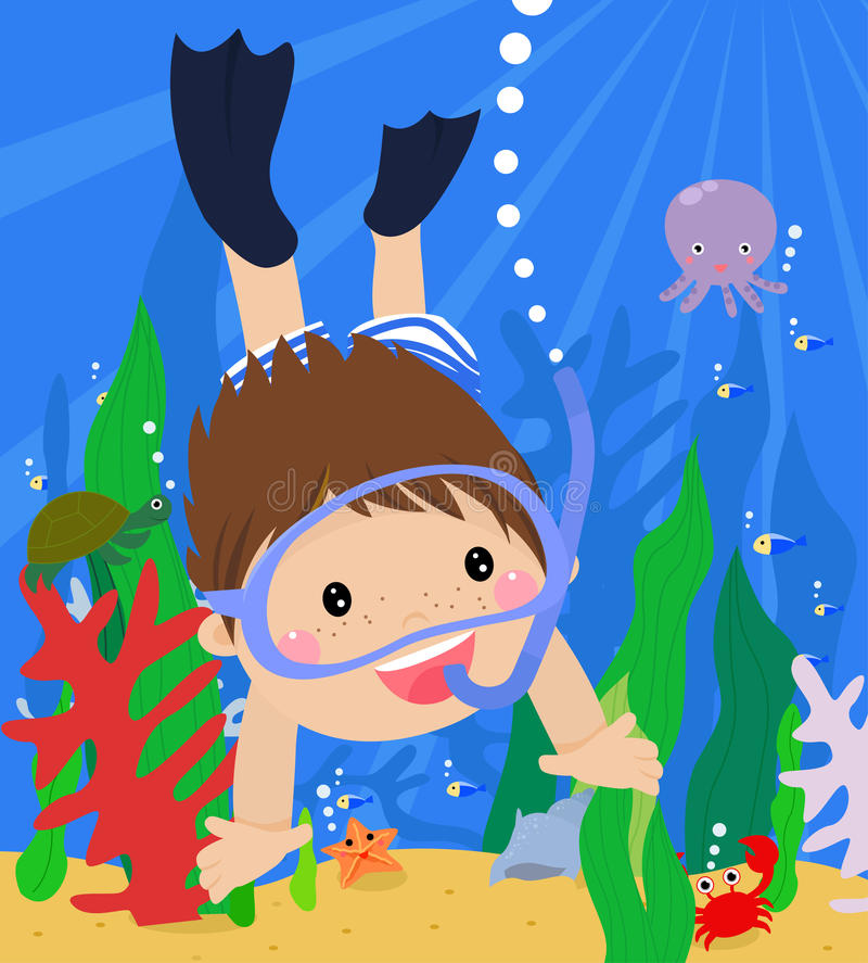 Boy swimming under water vector illustration