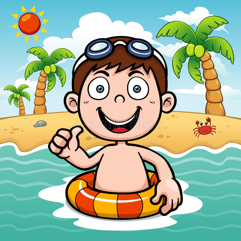 Download Boy swimming stock vector. Illustration of cute, cartoon - 40660770