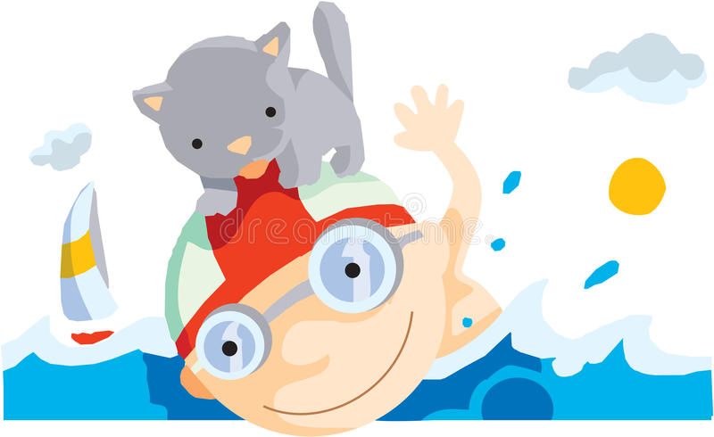 Download Boy swims with his kitten stock illustration. Illustration of cloud - 28523064