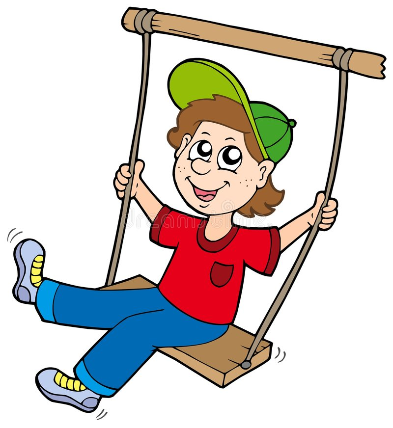 Boy on swing. Vector illustration