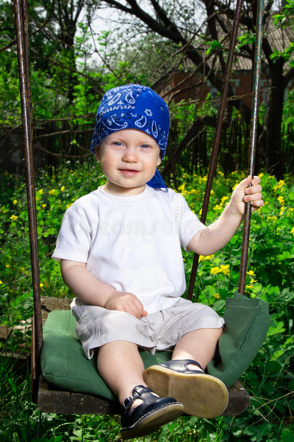 Download Boy swinging stock image. Image of little, baby, garden - 30984687