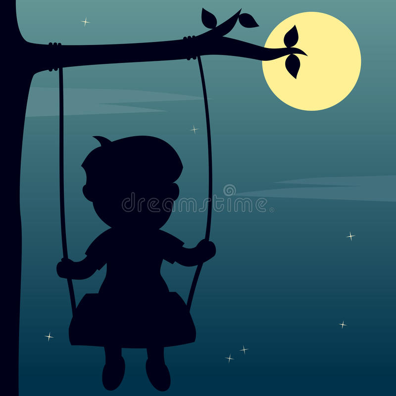 Boy Swinging in the Moonlight royalty free stock photography
