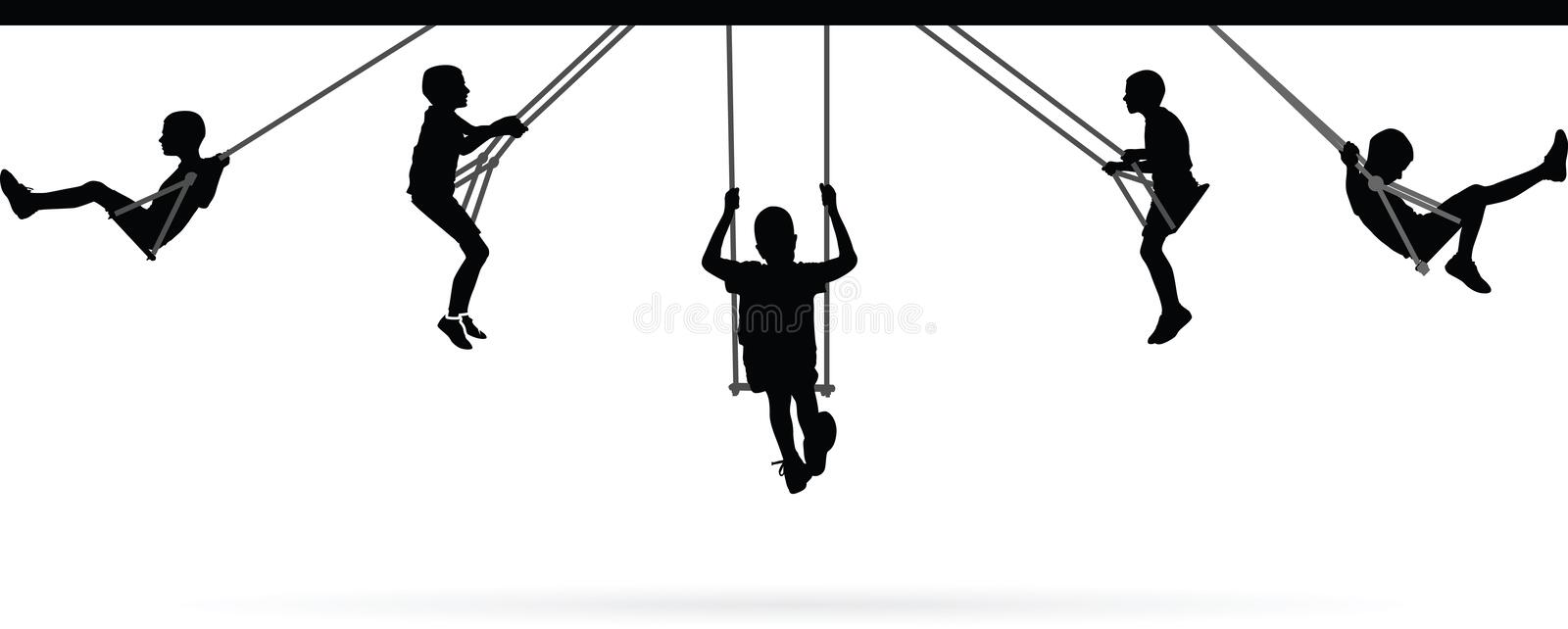 Boy swinging on swing collection royalty free illustration