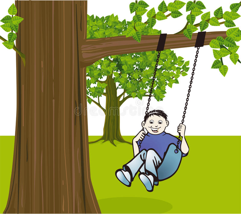 Download Boy swinging from tree stock vector. Image of purple - 26583771