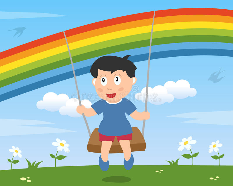 Boy Swinging Under The Rainbow Stock Photography