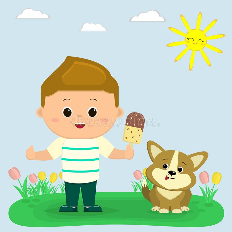A boy in a T-shirt and green trousers holds ice cream. Next to him sits a puppy Corgi. Glade with tulips, sun and sky. Cartoon style, flat, vector royalty free illustration