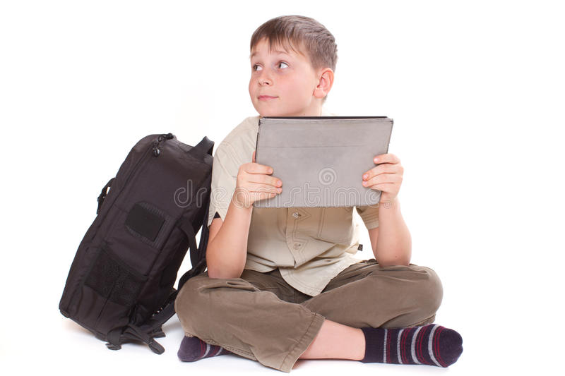 Boy with a Tablet PC royalty free stock image