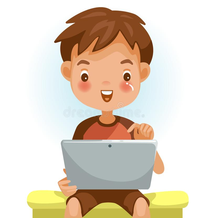Boy tablet. Boy using tablet. Looking , touching the screen with a pleasant surprise. Sitting on a chair in home. Happy child using online Internet with tablet vector illustration