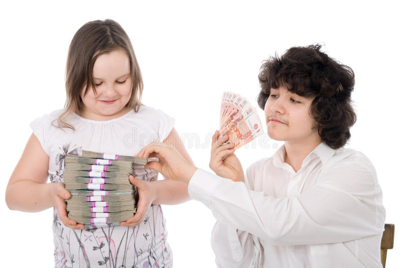 Boy Takes Away A Batch Of Money From Girl Stock Photos