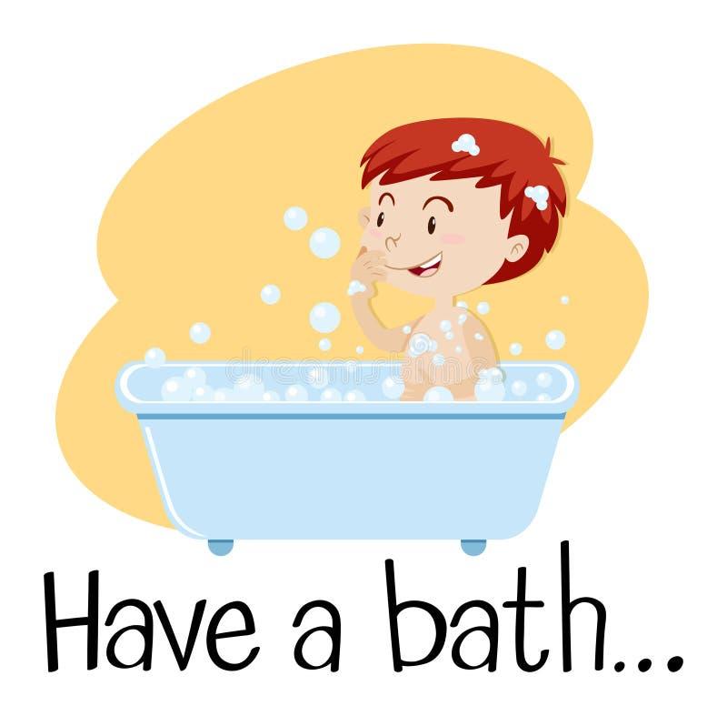 A Boy Taking a Bath. Illustration stock illustration