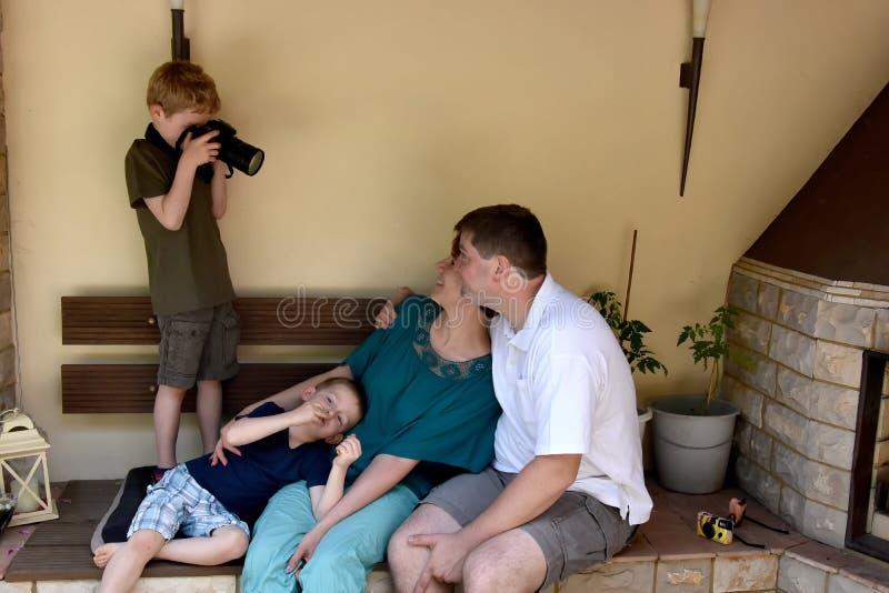 Boy taking photos stock photos