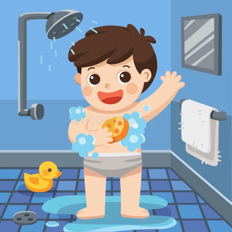 A boy taking a shower in bathroom. A boy taking a shower in bathroom with lot of soap lather and rubber duck royalty free illustration
