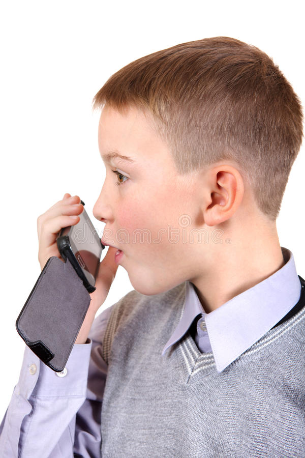 Free Boy Talking On Cellphone Stock Photography - 35769672
