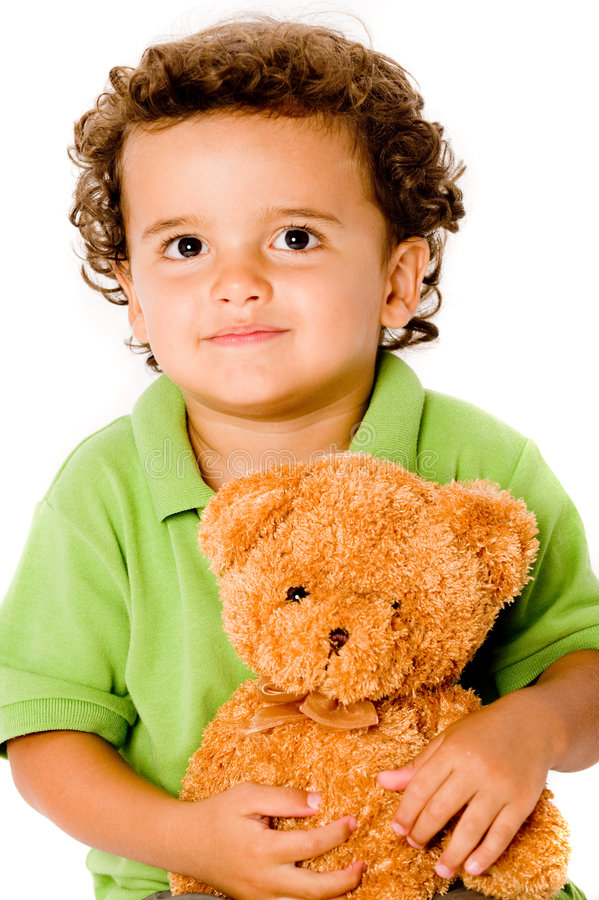 Download Boy With Teddy stock photo. Image of green, holding, studio - 5562400