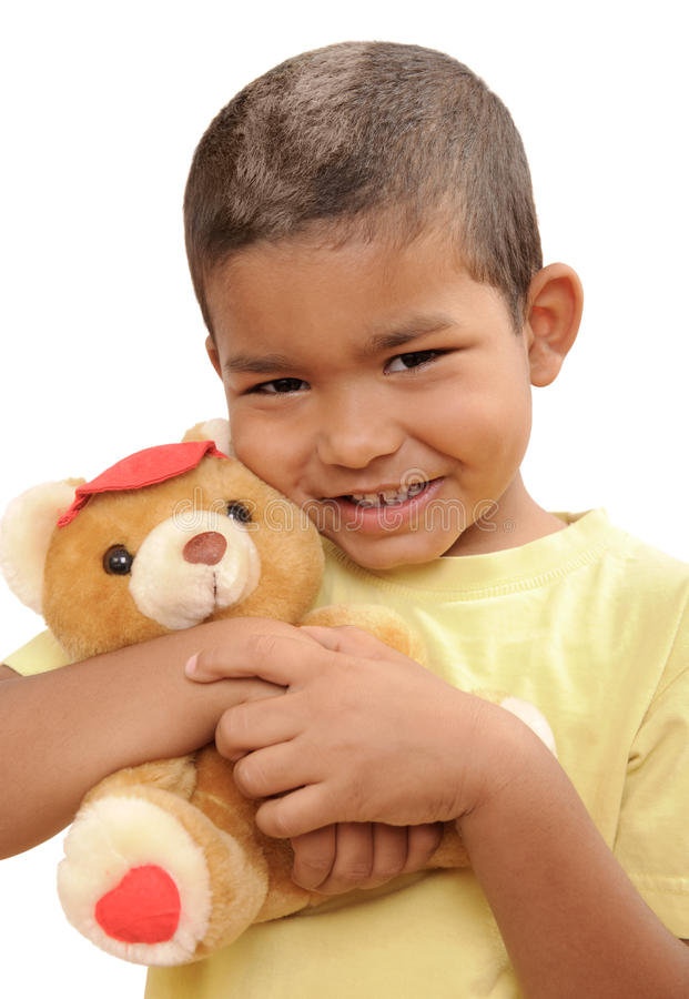 Download Boy with a teddy bear stock photo. Image of small, laugh - 9893978