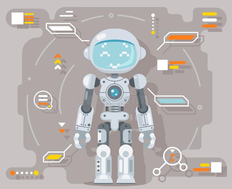 Boy teen robot android artificial intelligence futuristic information interface flat design vector illustration. Boy teen robot android artificial intelligence vector illustration