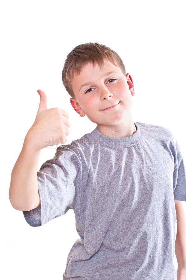 Boy teen shows cool hand sign stock photography