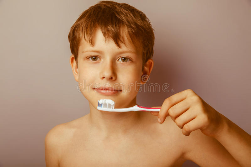 Boy teenager European appearance brown hair naked royalty free stock photo