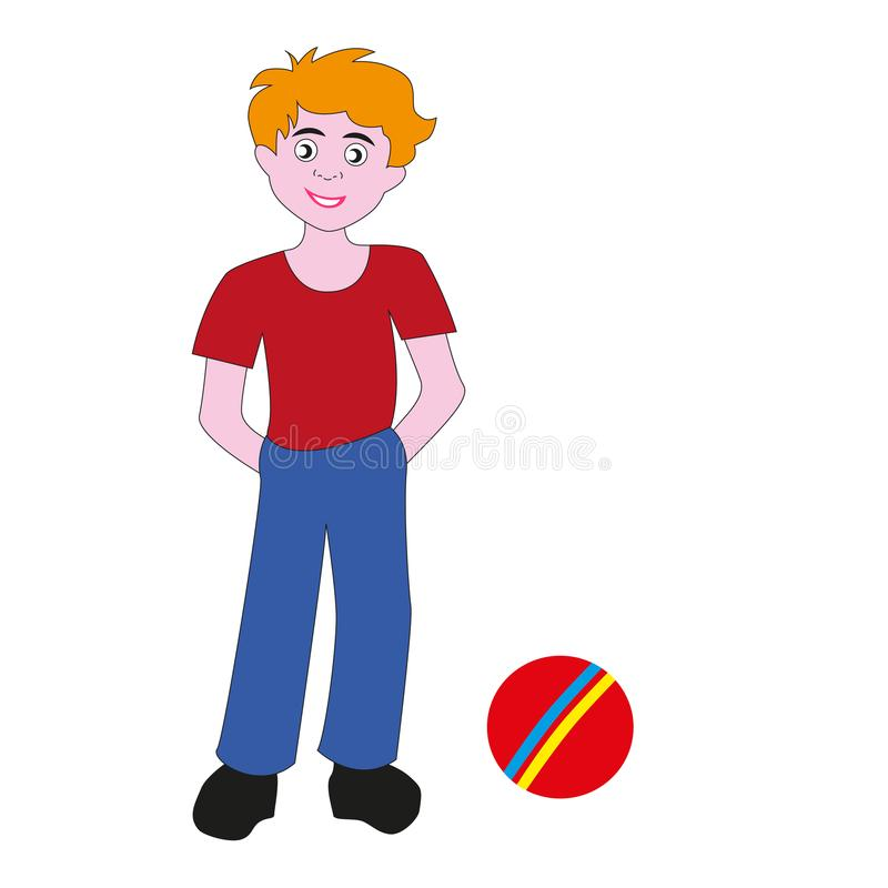 Boy teenager with a rubber ball. Teen boy with red hair in red tank top is going to play ball stock illustration