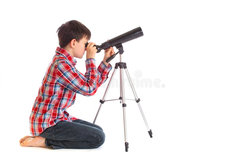 Download Boy with telescope stock image. Image of view, child, play - 8299723