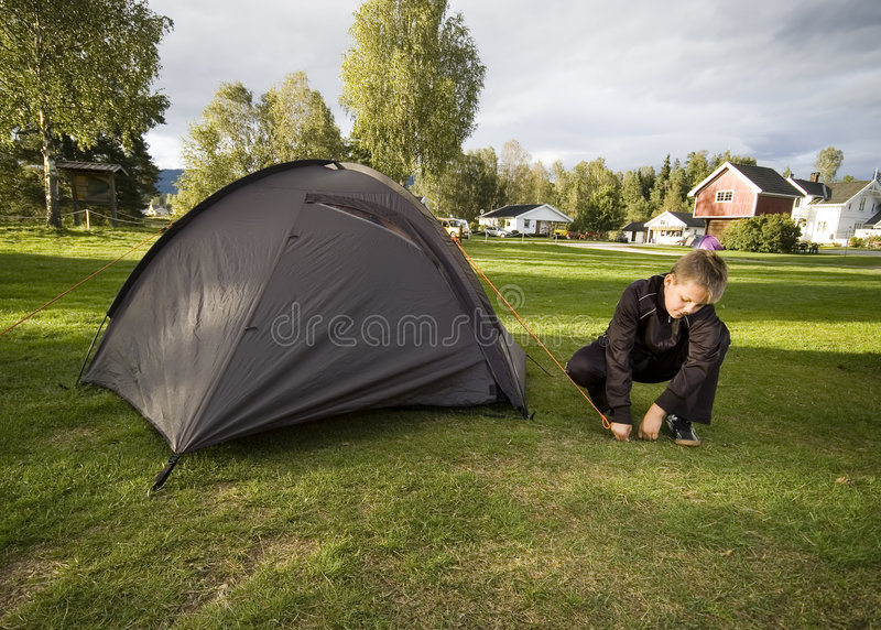 Download Boy And Tent Royalty Free Stock Image - Image: 5000526