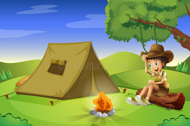 A boy with a tent and a camp fire royalty free illustration