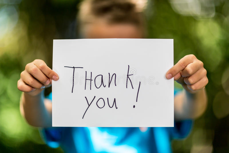 Download Boy with Thank You sign stock photo. Image of text, word - 42954790