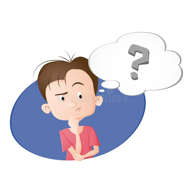 A boy thinking a thought vector illustration