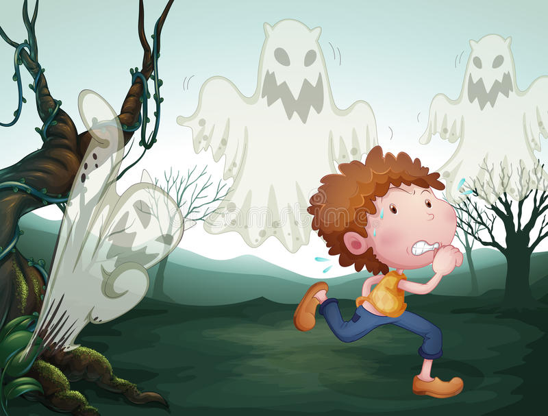 The boy and the three ghosts. Illustration of the boy and the three ghost stock illustration