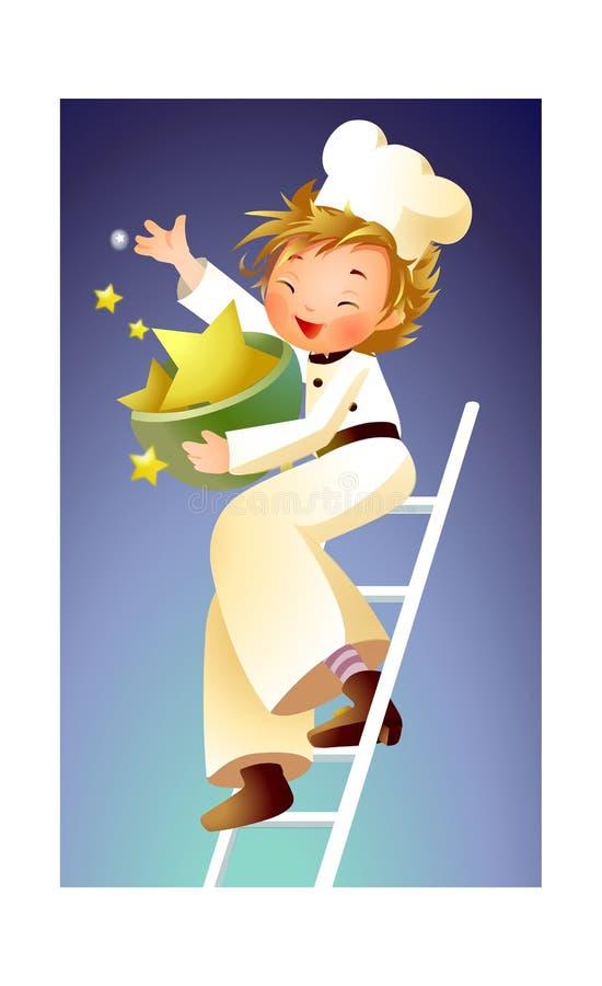 Boy throwing stars stock illustration