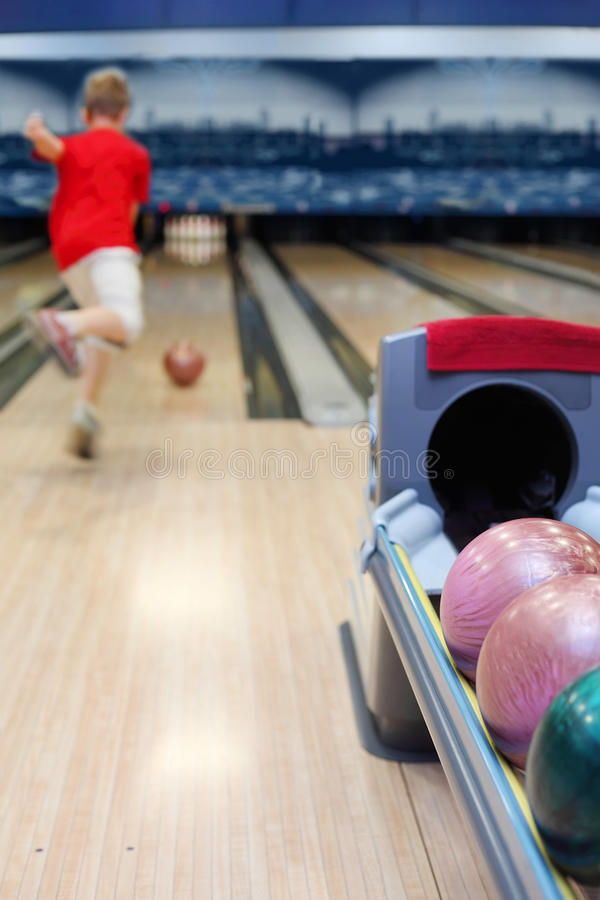 Download Boy throws ball in bowling stock photo. Image of competition - 25150334