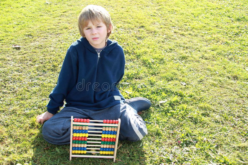 Boy Tired From Counting Stock Images
