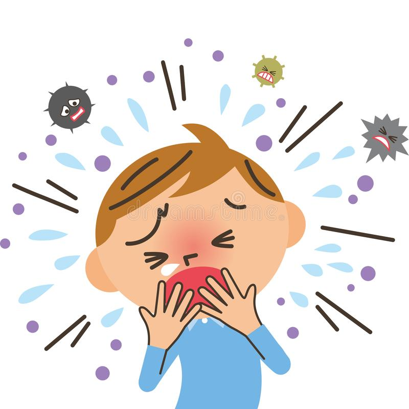 Boy to cough royalty free stock image