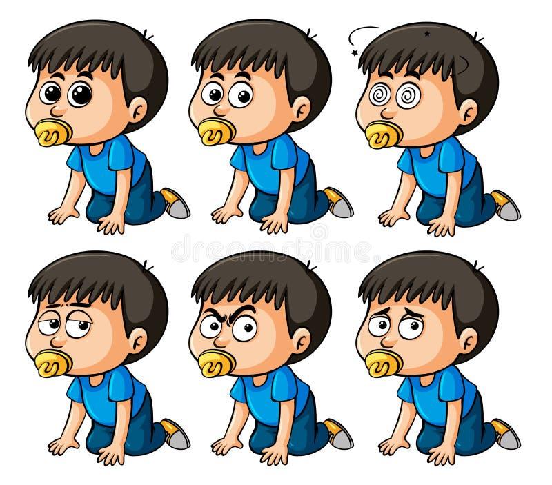 Boy toddler with different emotions. Illustration vector illustration