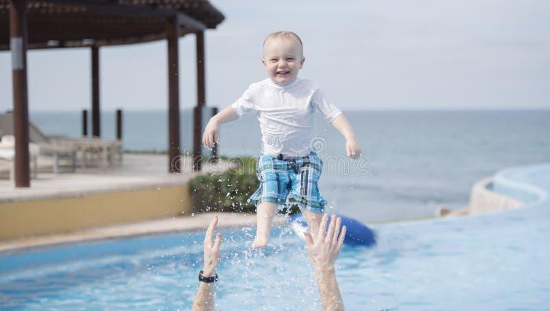 Boy Toddler Playing at Pool in Punta Mita, Mexico stock image