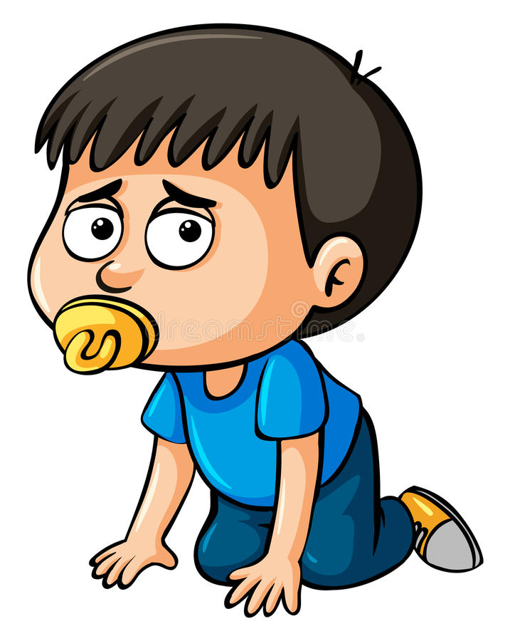 Boy toddler sucking pacifier. Illustration royalty free illustration
