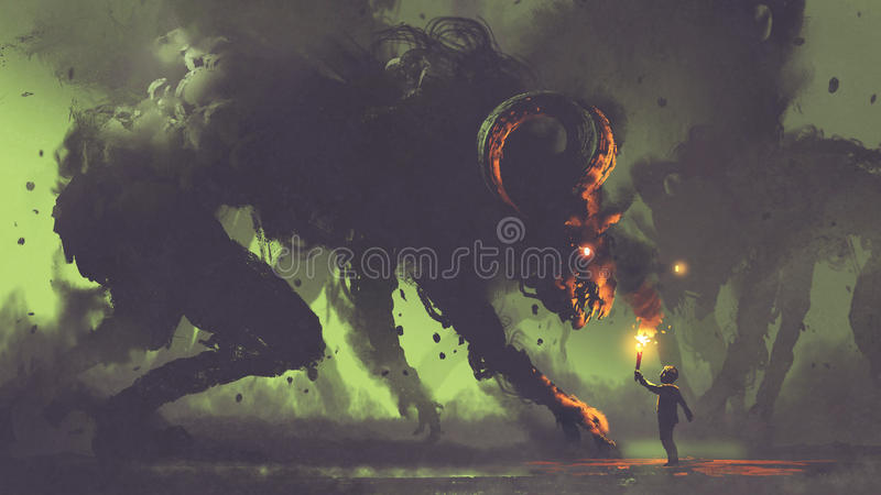 Boy with a torch facing smoke monsters stock illustration