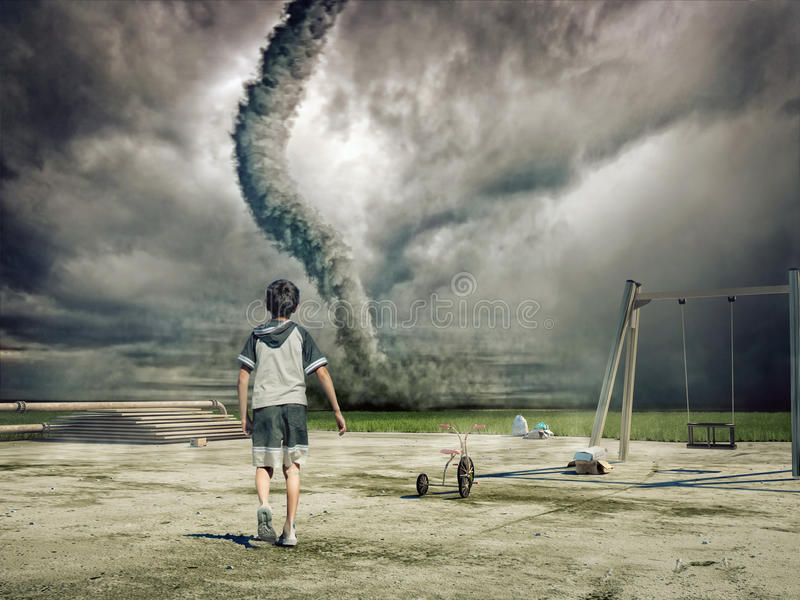 Download Boy and  tornado stock illustration. Image of majestic - 17754242