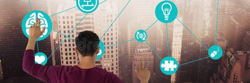 Boy touching city interface vector illustration