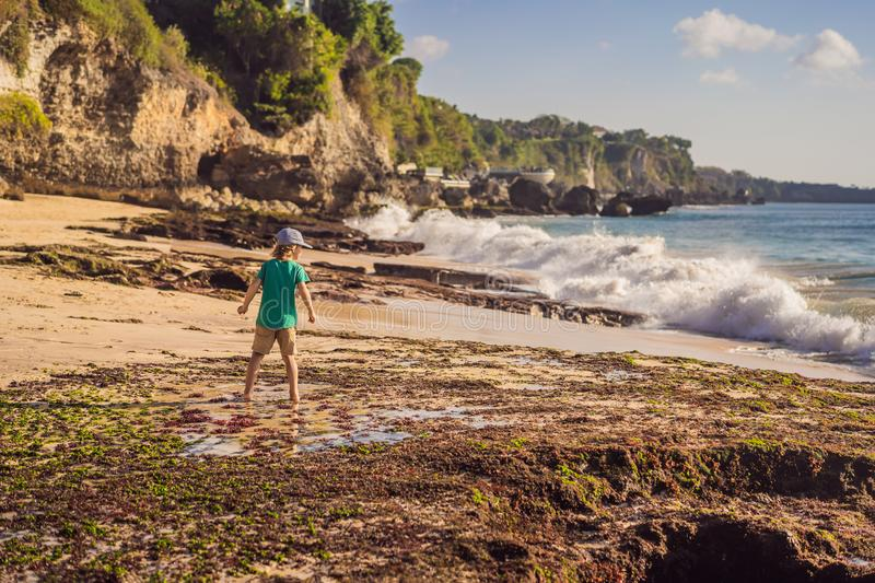 Boy tourist on Pantai Tegal Wangi Beach, Bali Island, Indonesia. Bali Travel Concept. Traveling with children concept. Kids friendly places royalty free stock photography